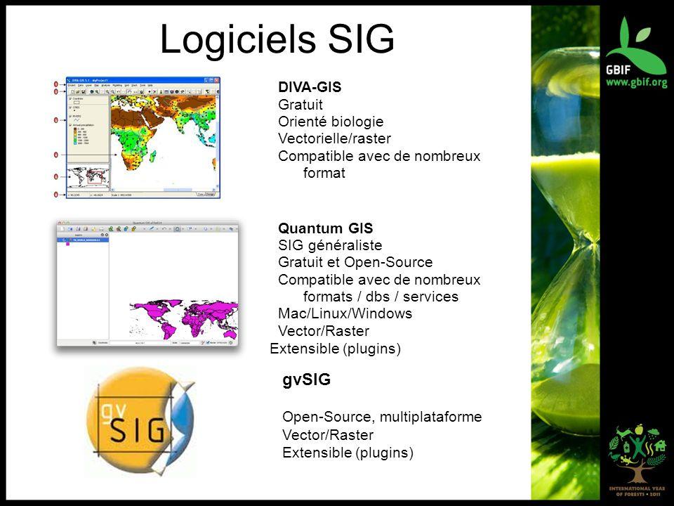 Logiciels SIG DIVA-GIS Gratuit Orienté biologie Vectorielle/raster Compatible avec de nombreux format Quantum GIS SIG généraliste Gratuit et Open-Sour