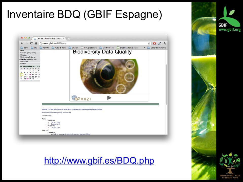 Inventaire BDQ (GBIF Espagne) http://www.gbif.es/BDQ.php