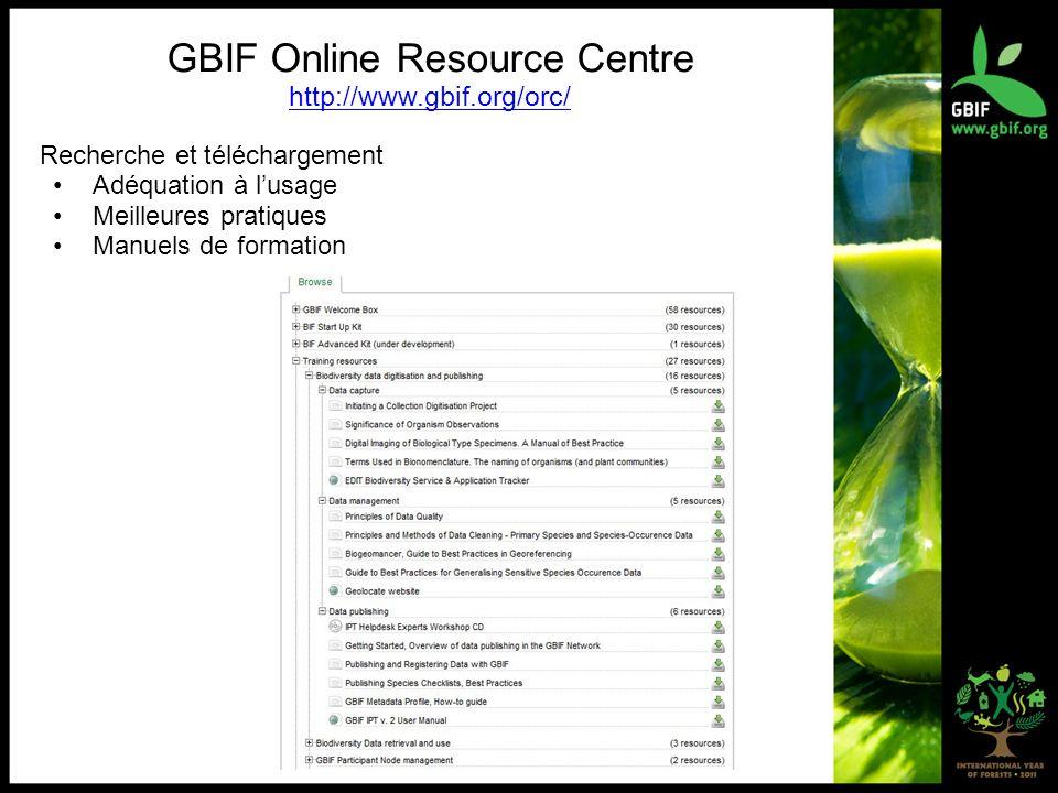 GBIF Online Resource Centre http://www.gbif.org/orc/ Recherche et téléchargement Adéquation à lusage Meilleures pratiques Manuels de formation