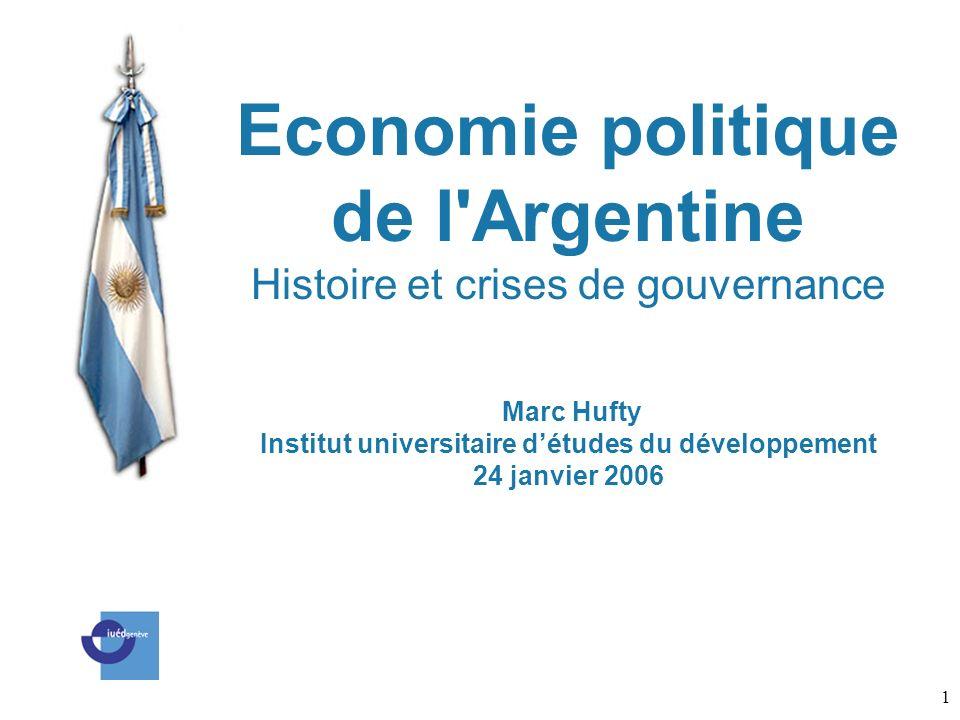 1 Economie politique de l'Argentine Histoire et crises de gouvernance Marc Hufty Institut universitaire détudes du développement 24 janvier 2006