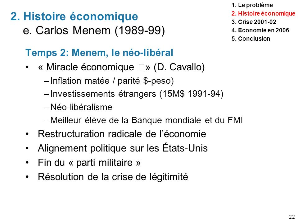 22 Temps 2: Menem, le néo-libéral « Miracle économique » (D. Cavallo) –Inflation matée / parité $-peso) –Investissements étrangers (15M$ 1991-94) –Néo