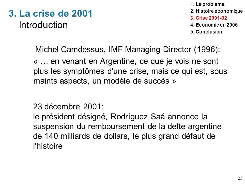 25 3. La crise de 2001 Introduction 1. Le problème 2. Histoire économique 3. Crise 2001-02 4. Economie en 2006 5. Conclusion Michel Camdessus, IMF Man