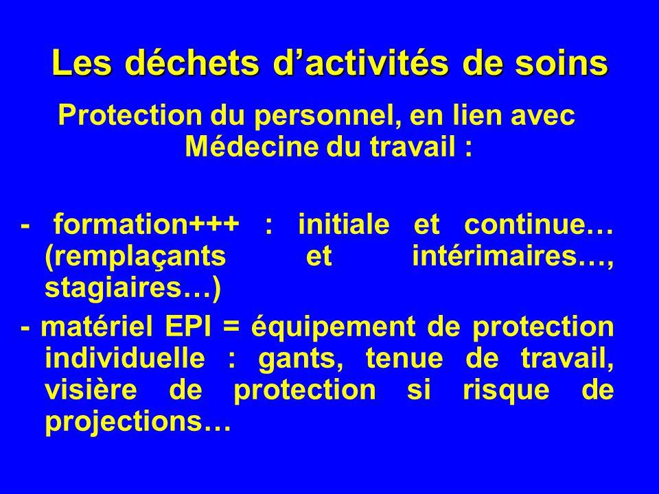 Les déchets dactivités de soins Protection du personnel, en lien avec Médecine du travail : - formation+++ : initiale et continue… (remplaçants et int