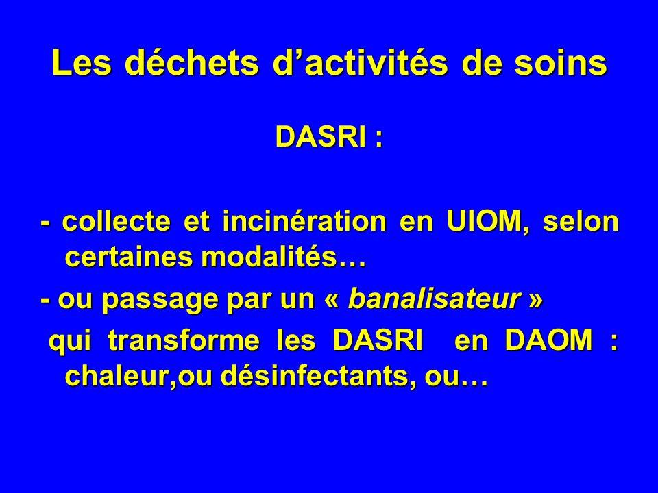 Les déchets dactivités de soins DASRI : - collecte et incinération en UIOM, selon certaines modalités… - ou passage par un « banalisateur » qui transforme les DASRI en DAOM : chaleur,ou désinfectants, ou… qui transforme les DASRI en DAOM : chaleur,ou désinfectants, ou…