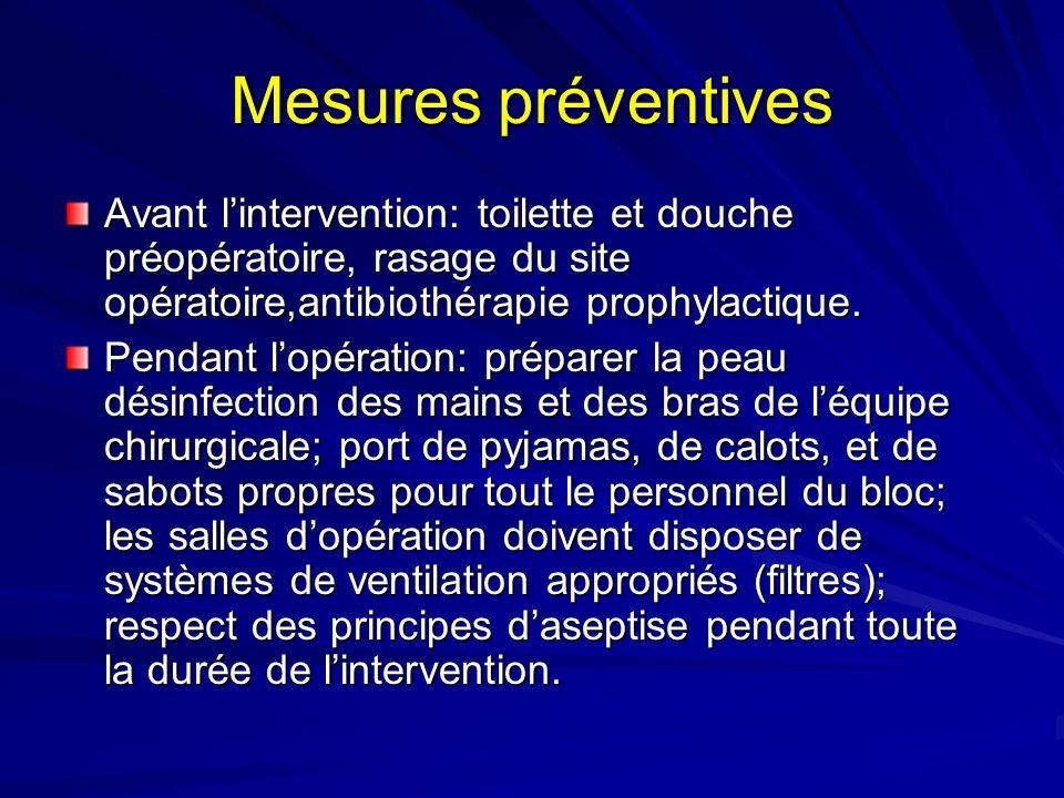 Mesures préventives Avant lintervention: toilette et douche préopératoire, rasage du site opératoire,antibiothérapie prophylactique. Pendant lopératio