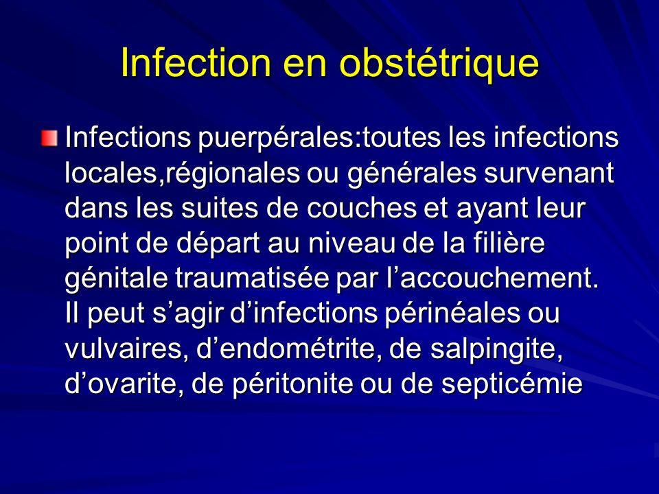 Infection en obstétrique Infections puerpérales:toutes les infections locales,régionales ou générales survenant dans les suites de couches et ayant le