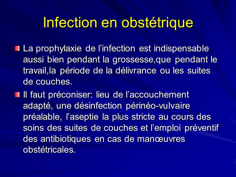 Infection en obstétrique La prophylaxie de linfection est indispensable aussi bien pendant la grossesse,que pendant le travail,la période de la délivr