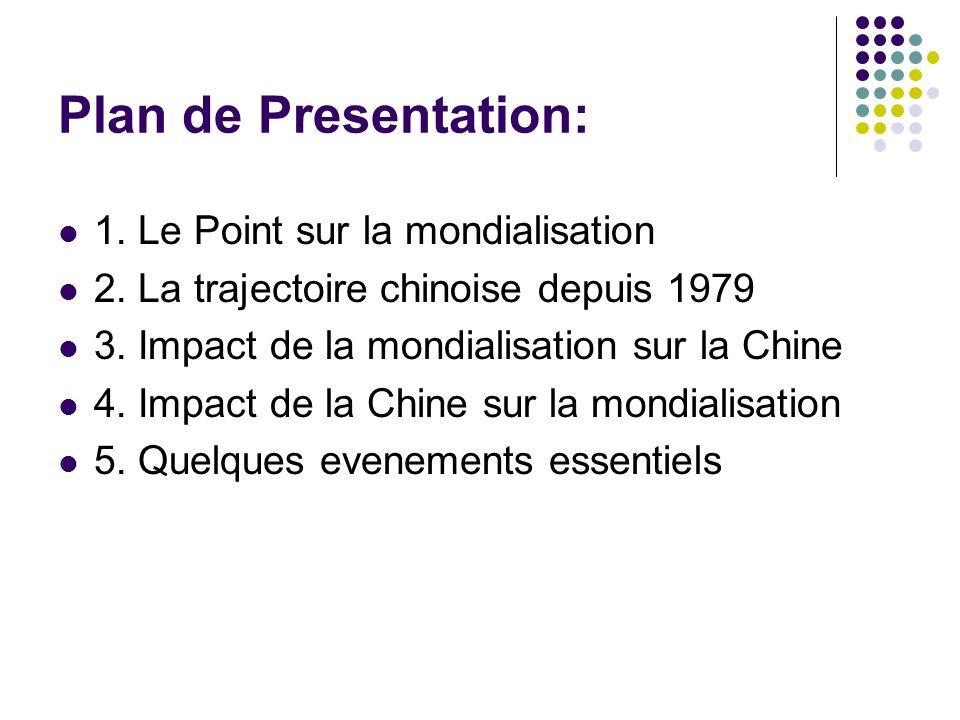 Plan de Presentation: 1. Le Point sur la mondialisation 2. La trajectoire chinoise depuis 1979 3. Impact de la mondialisation sur la Chine 4. Impact d