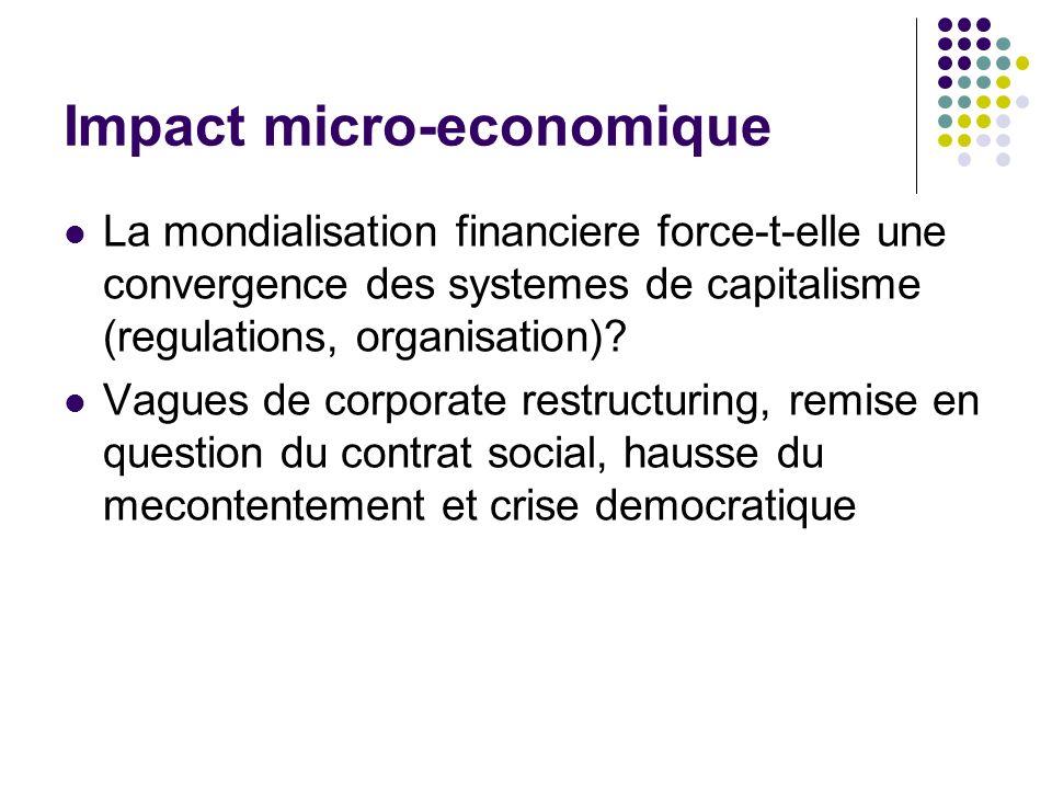 Impact micro-economique La mondialisation financiere force-t-elle une convergence des systemes de capitalisme (regulations, organisation).