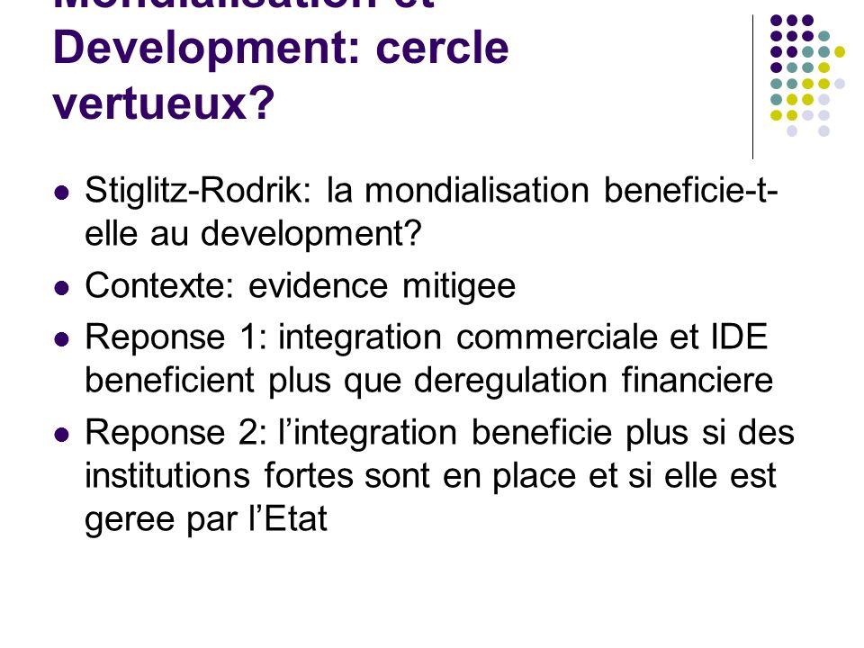 Mondialisation et Development: cercle vertueux? Stiglitz-Rodrik: la mondialisation beneficie-t- elle au development? Contexte: evidence mitigee Repons