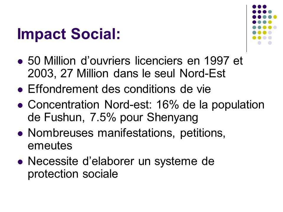 Impact Social: 50 Million douvriers licenciers en 1997 et 2003, 27 Million dans le seul Nord-Est Effondrement des conditions de vie Concentration Nord