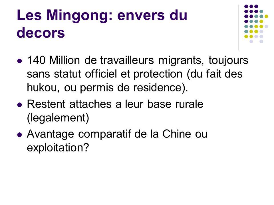 Les Mingong: envers du decors 140 Million de travailleurs migrants, toujours sans statut officiel et protection (du fait des hukou, ou permis de residence).