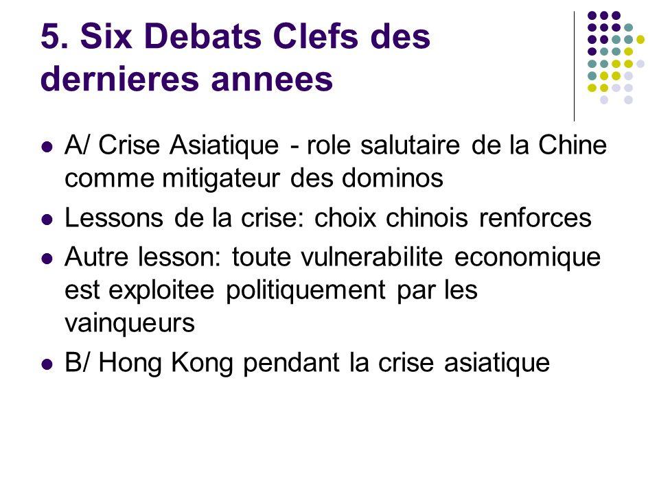 5. Six Debats Clefs des dernieres annees A/ Crise Asiatique - role salutaire de la Chine comme mitigateur des dominos Lessons de la crise: choix chino