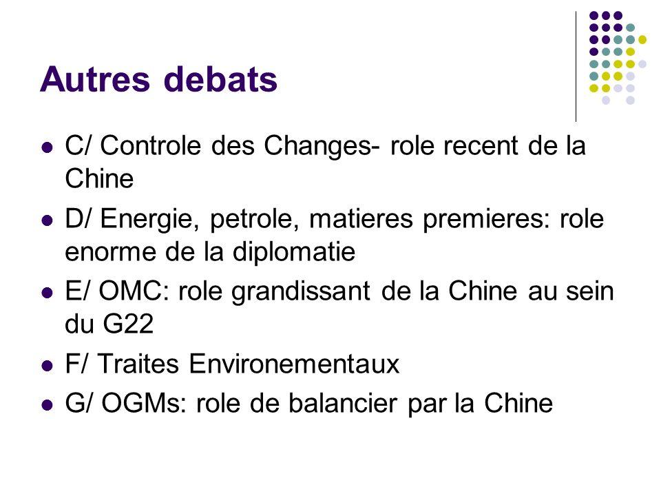 Autres debats C/ Controle des Changes- role recent de la Chine D/ Energie, petrole, matieres premieres: role enorme de la diplomatie E/ OMC: role grandissant de la Chine au sein du G22 F/ Traites Environementaux G/ OGMs: role de balancier par la Chine