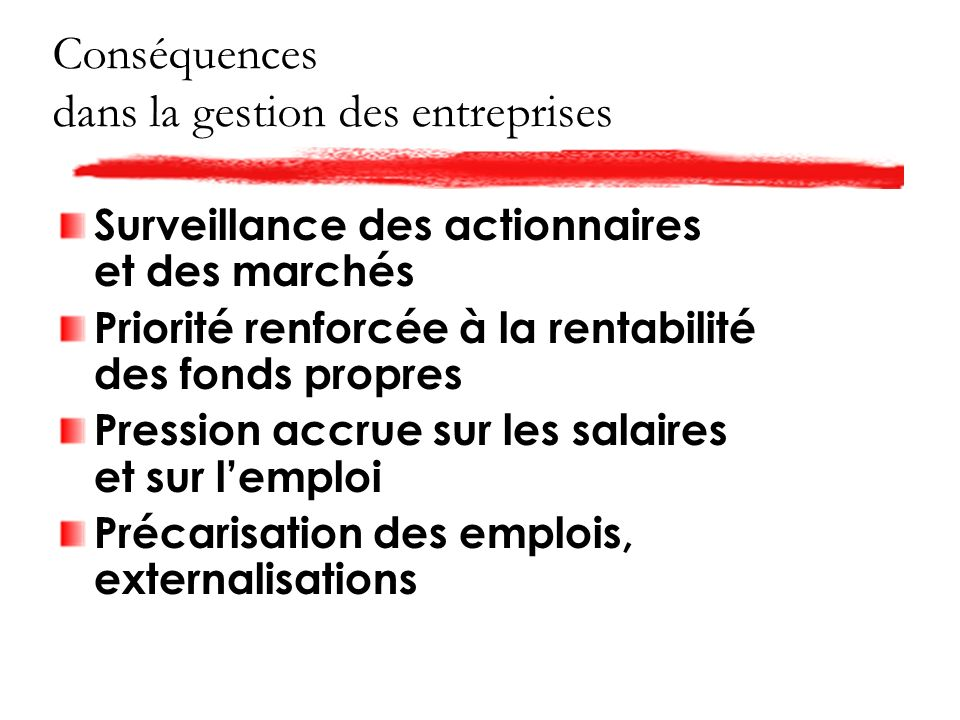 Conséquences dans la gestion des entreprises Surveillance des actionnaires et des marchés Priorité renforcée à la rentabilité des fonds propres Pression accrue sur les salaires et sur lemploi Précarisation des emplois, externalisations