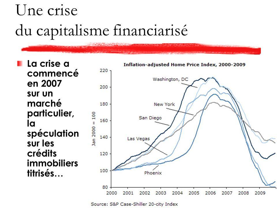 Une crise du capitalisme financiarisé La crise a commencé en 2007 sur un marché particulier, la spéculation sur les crédits immobiliers titrisés…