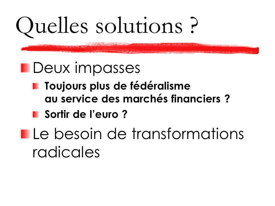 Quelles solutions . Deux impasses Toujours plus de fédéralisme au service des marchés financiers .