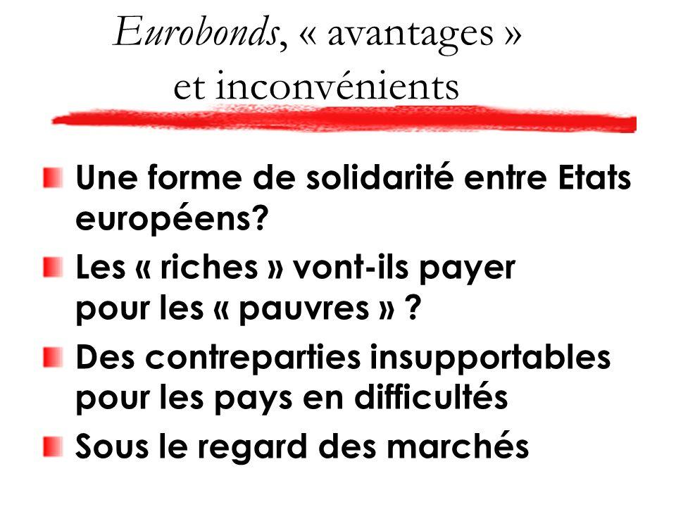 Eurobonds, « avantages » et inconvénients Une forme de solidarité entre Etats européens.