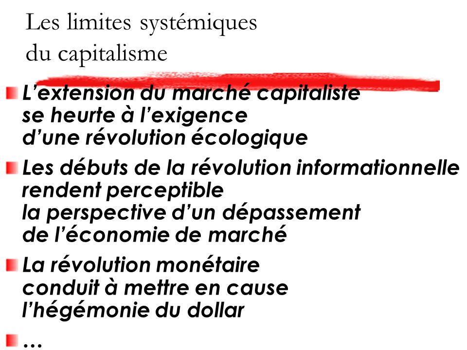 Les limites systémiques du capitalisme Lextension du marché capitaliste se heurte à lexigence dune révolution écologique Les débuts de la révolution informationnelle rendent perceptible la perspective dun dépassement de léconomie de marché La révolution monétaire conduit à mettre en cause lhégémonie du dollar …