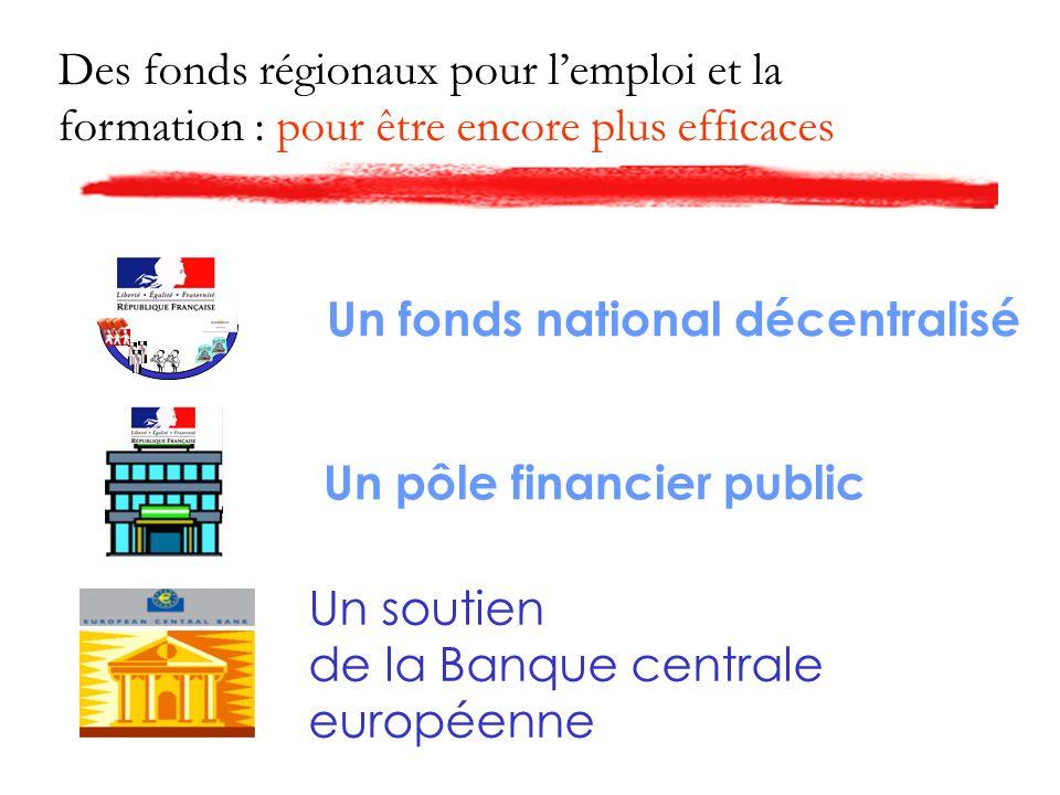 Des fonds régionaux pour lemploi et la formation : pour être encore plus efficaces Un fonds national décentralisé Un pôle financier public Un soutien de la Banque centrale européenne