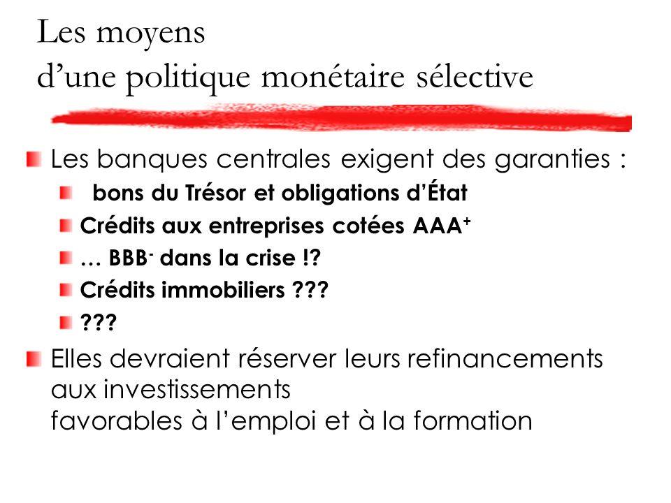 Les moyens dune politique monétaire sélective Les banques centrales exigent des garanties : bons du Trésor et obligations dÉtat Crédits aux entreprises cotées AAA + … BBB - dans la crise !.