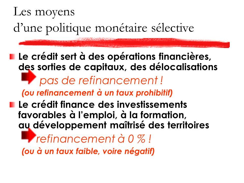Les moyens dune politique monétaire sélective Le crédit sert à des opérations financières, des sorties de capitaux, des délocalisations pas de refinancement .