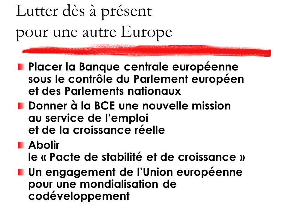 Lutter dès à présent pour une autre Europe Placer la Banque centrale européenne sous le contrôle du Parlement européen et des Parlements nationaux Donner à la BCE une nouvelle mission au service de lemploi et de la croissance réelle Abolir le « Pacte de stabilité et de croissance » Un engagement de lUnion européenne pour une mondialisation de codéveloppement