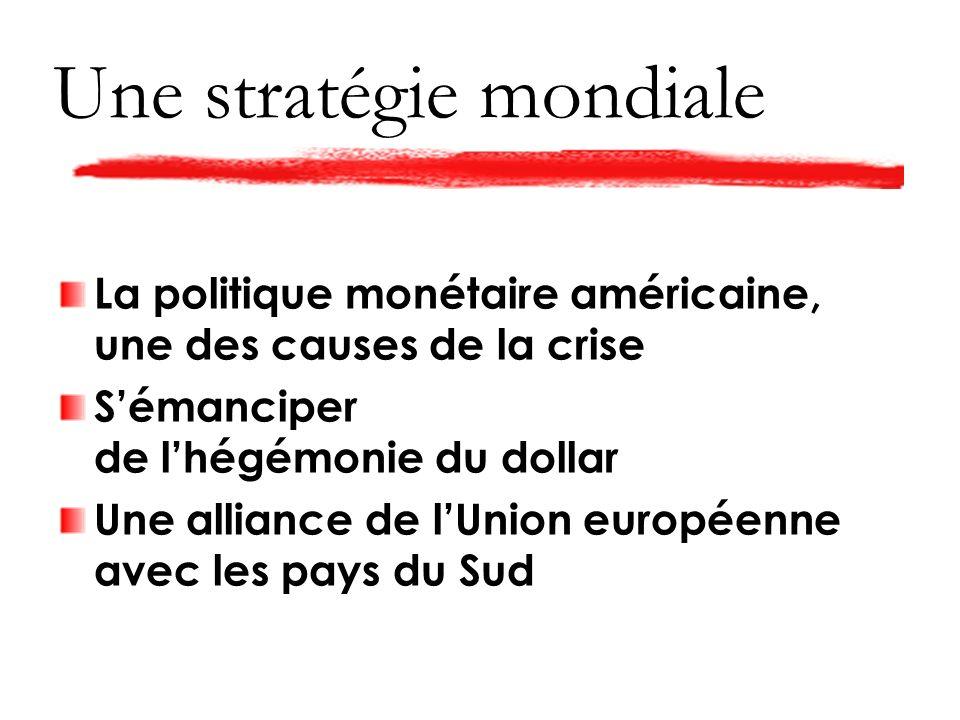 La politique monétaire américaine, une des causes de la crise Sémanciper de lhégémonie du dollar Une alliance de lUnion européenne avec les pays du Sud