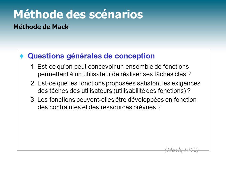 Méthode des scénarios Méthode de Mack Questions générales de conception 1. Est-ce quon peut concevoir un ensemble de fonctions permettant à un utilisa