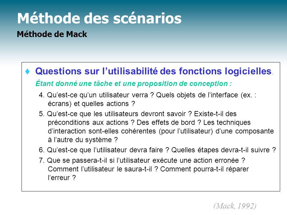 Méthode des scénarios Méthode de Mack Questions sur lutilisabilité des fonctions logicielles. Étant donné une tâche et une proposition de conception :