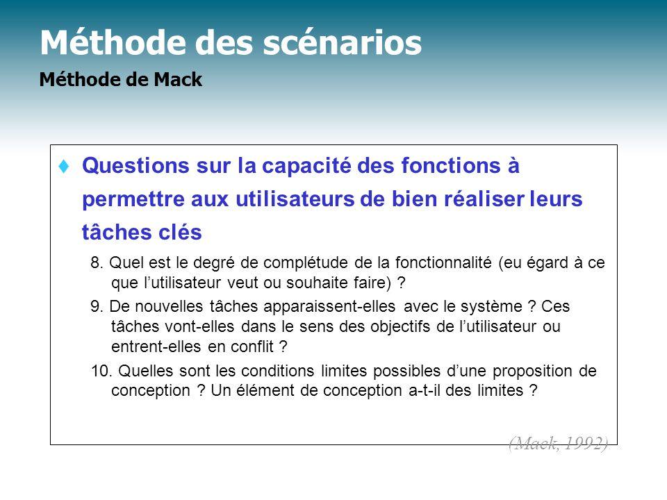 Méthode des scénarios Méthode de Mack Questions sur la capacité des fonctions à permettre aux utilisateurs de bien réaliser leurs tâches clés 8. Quel