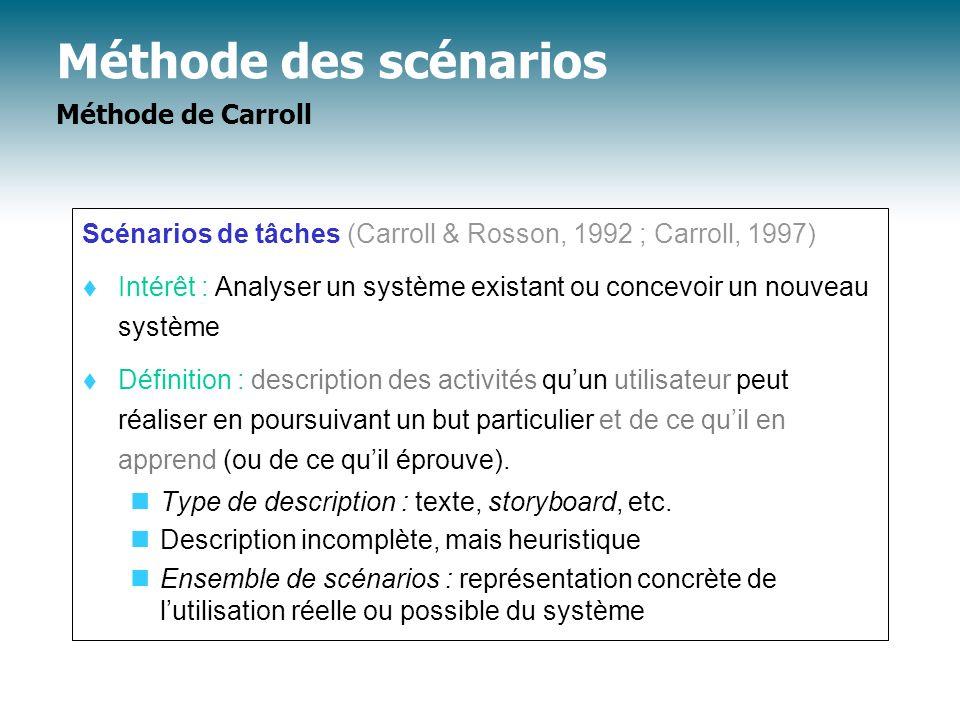 Méthode des scénarios Méthode de Carroll Scénarios de tâches (Carroll & Rosson, 1992 ; Carroll, 1997) Intérêt : Analyser un système existant ou concev