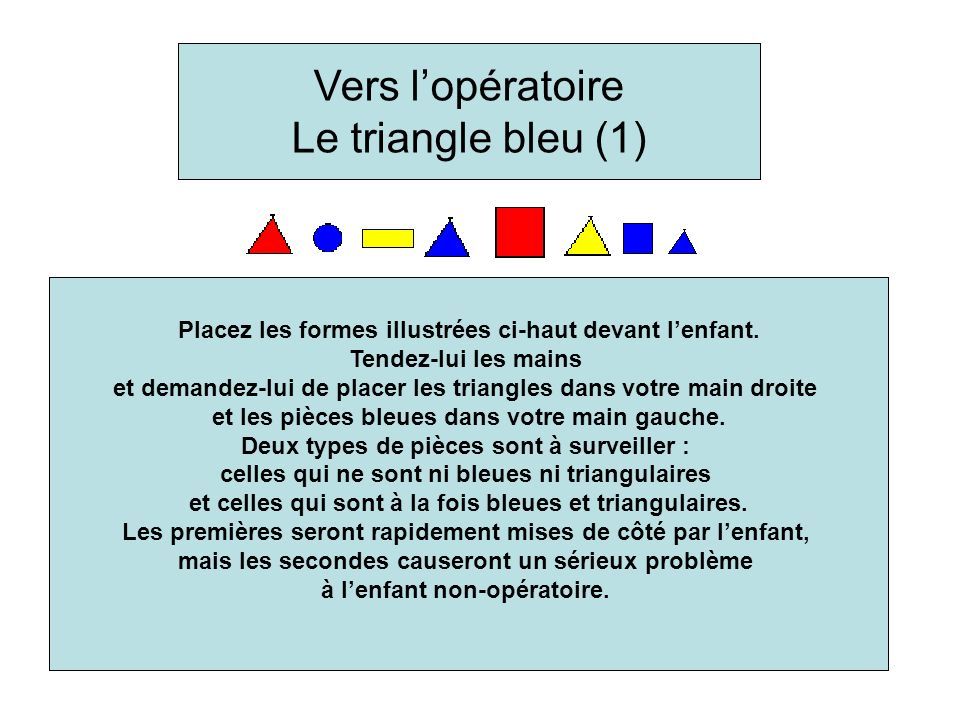 Place the above shapes in front of the child. Extend your hands and ask him to place the triangles in your right hand and the blue shapes in your left