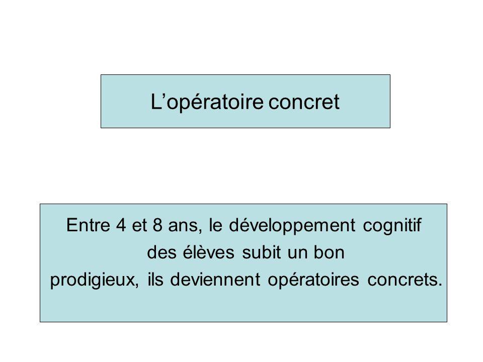 Part II Towards the concrete operational stage Deuxième partie : Vers lopératoire concret