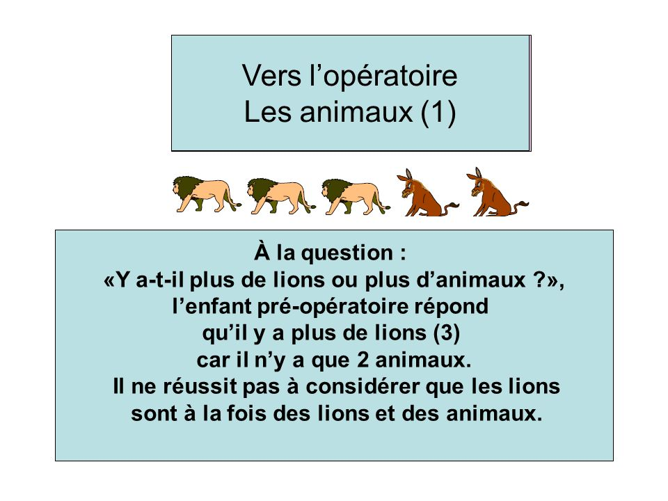 Heading to the concrete operational stage - The animals (1) To the question: « Are there more lions or more animals? », the preoperational child answe