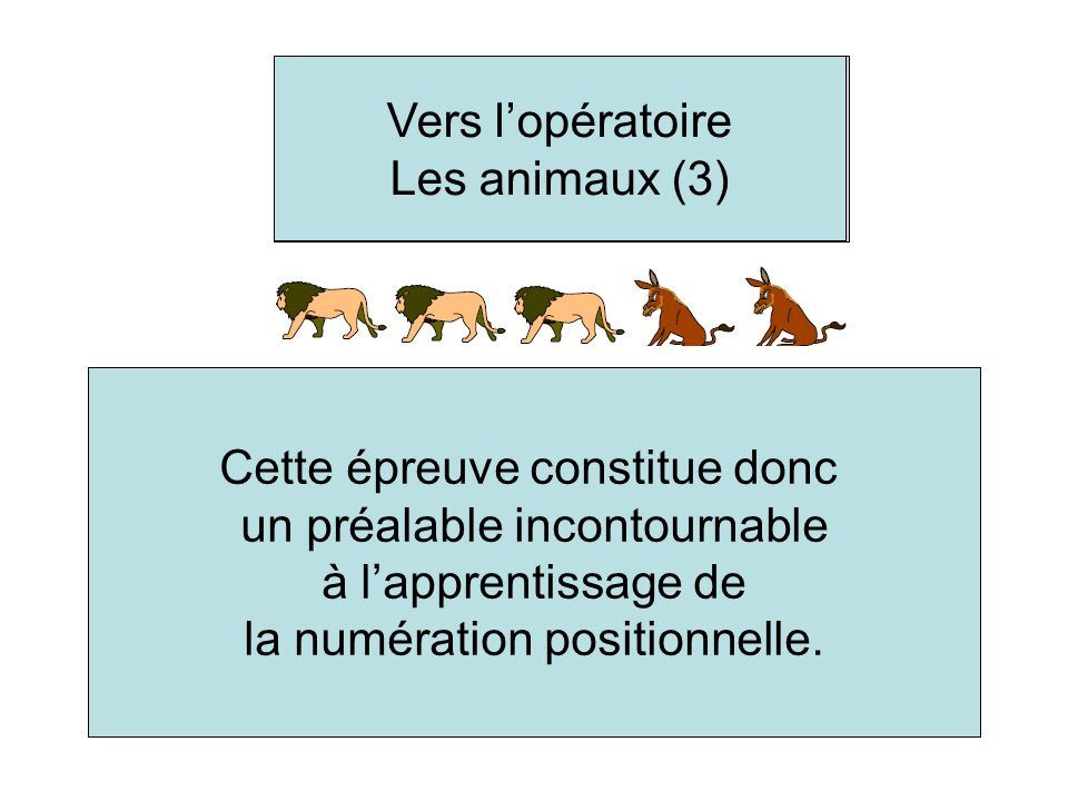 Heading to the concrete operational stage - The animals (3) This test is a necessary prerequisite to learning the concept of position value. Cette épr