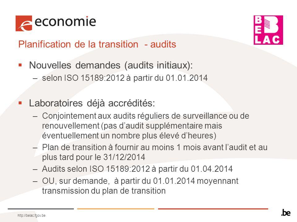 Planification de la transition - audits Nouvelles demandes (audits initiaux): –selon ISO 15189:2012 à partir du 01.01.2014 Laboratoires déjà accrédité