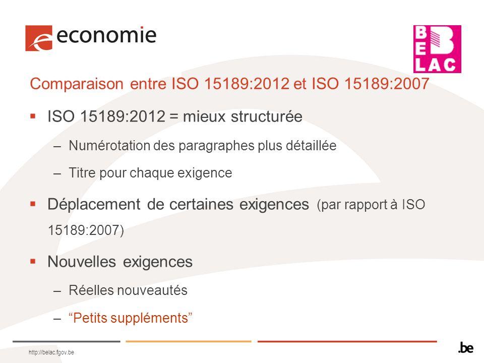 Comparaison entre ISO 15189:2012 et ISO 15189:2007 ISO 15189:2012 = mieux structurée –Numérotation des paragraphes plus détaillée –Titre pour chaque e