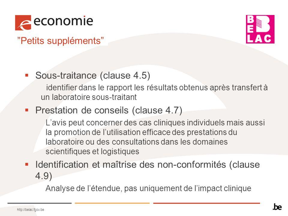Petits suppléments Sous-traitance (clause 4.5) identifier dans le rapport les résultats obtenus après transfert à un laboratoire sous-traitant Prestat