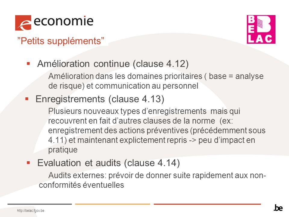 Petits suppléments Amélioration continue (clause 4.12) Amélioration dans les domaines prioritaires ( base = analyse de risque) et communication au per