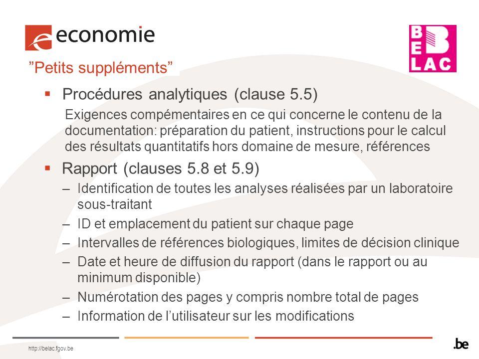 Petits suppléments Procédures analytiques (clause 5.5) Exigences compémentaires en ce qui concerne le contenu de la documentation: préparation du pati
