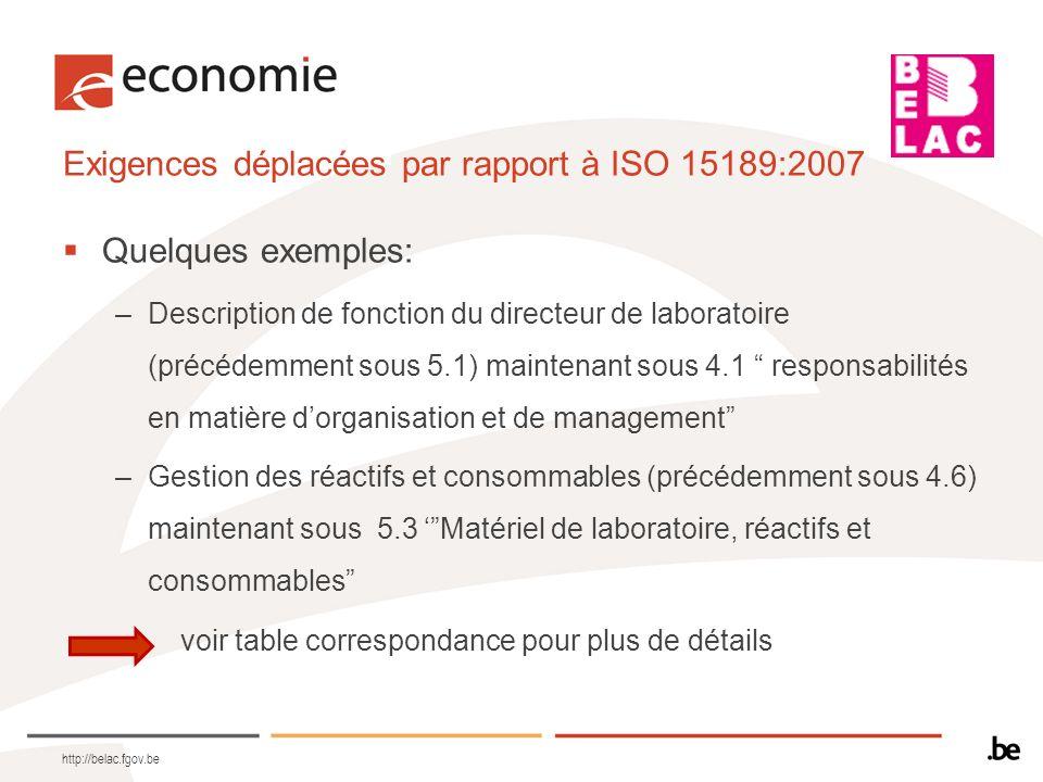 Exigences déplacées par rapport à ISO 15189:2007 Quelques exemples: –Description de fonction du directeur de laboratoire (précédemment sous 5.1) maint