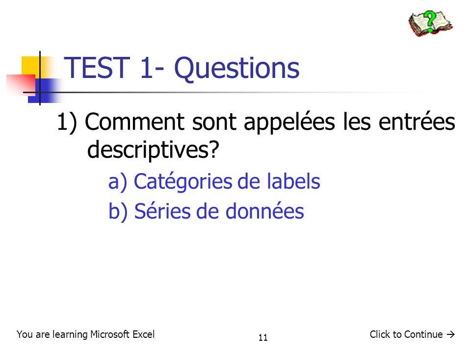 11 TEST 1- Questions 1) Comment sont appelées les entrées descriptives? a) Catégories de labels b) Séries de données Click to Continue You are learnin