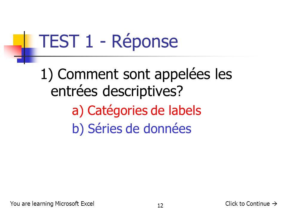12 TEST 1 - Réponse 1) Comment sont appelées les entrées descriptives? a) Catégories de labels b) Séries de données Click to Continue You are learning