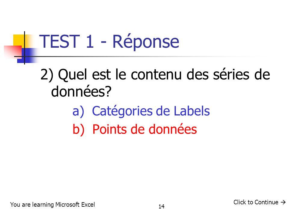14 TEST 1 - Réponse 2) Quel est le contenu des séries de données? a) Catégories de Labels b) Points de données You are learning Microsoft Excel Click