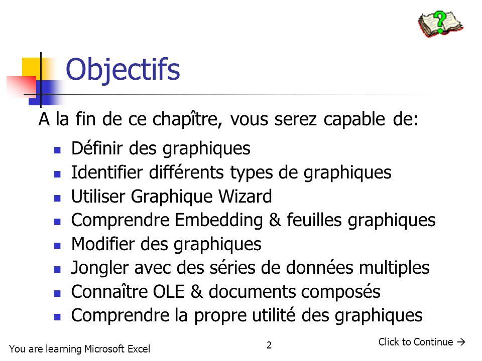 2 Objectifs Définir des graphiques Identifier différents types de graphiques Utiliser Graphique Wizard Comprendre Embedding & feuilles graphiques Modi