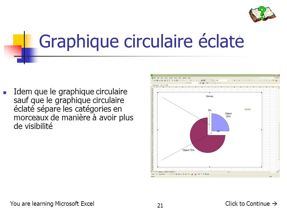 21 Graphique circulaire éclaté Idem que le graphique circulaire sauf que le graphique circulaire éclaté sépare les catégories en morceaux de manière à