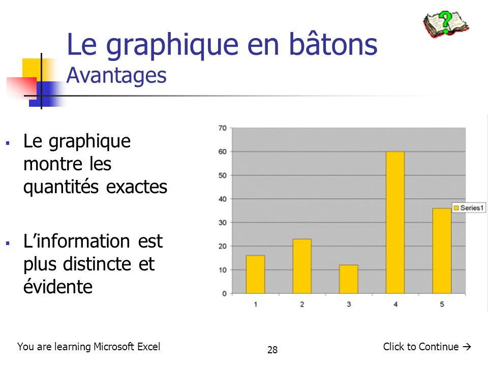 28 Le graphique en bâtons : Avantages Le graphique montre les quantités exactes Linformation est plus distincte et évidente You are learning Microsoft ExcelClick to Continue