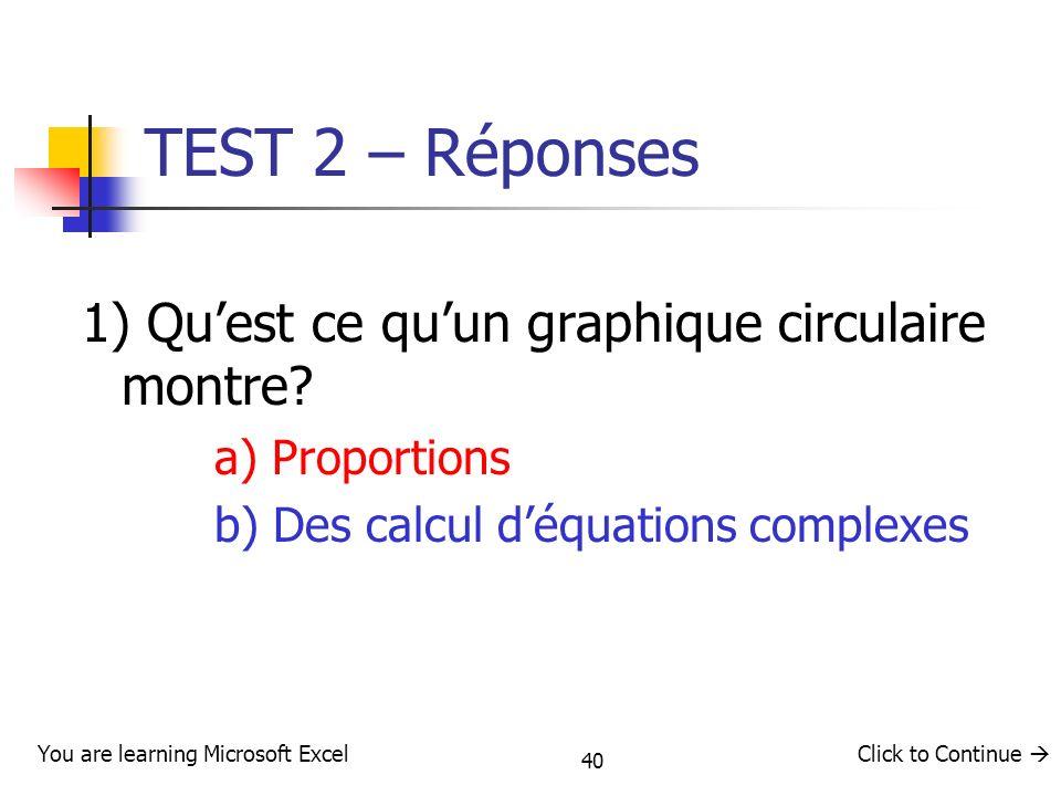 40 TEST 2 – Réponses 1) Quest ce quun graphique circulaire montre? a) Proportions b) Des calcul déquations complexes You are learning Microsoft ExcelC