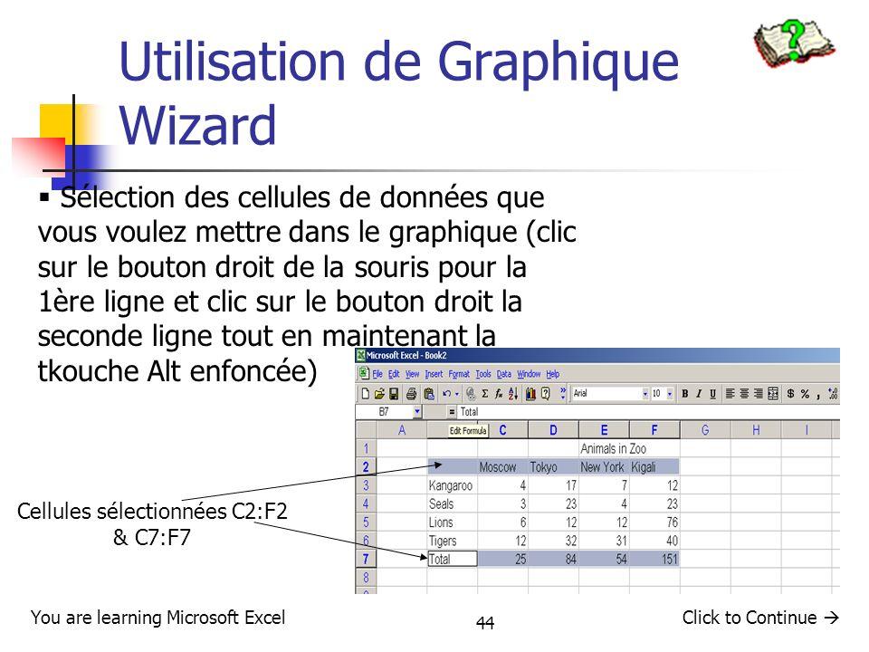 44 Utilisation de Graphique Wizard Sélection des cellules de données que vous voulez mettre dans le graphique (clic sur le bouton droit de la souris p